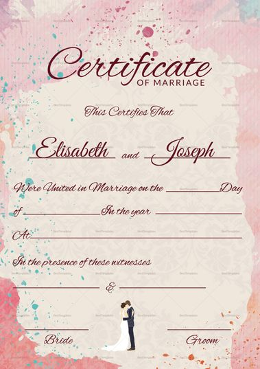 Christian Marriage Certificate Template  Christian Marriage