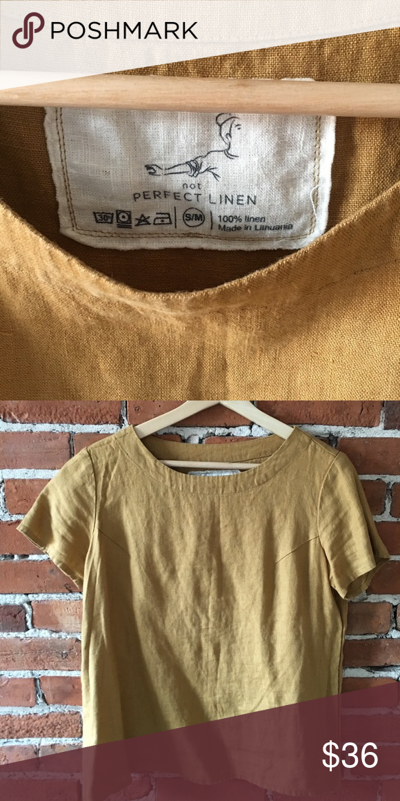 df00aa655f Not Perfect Linen Tee S M Like new Not perfect linen tee in amber yellow