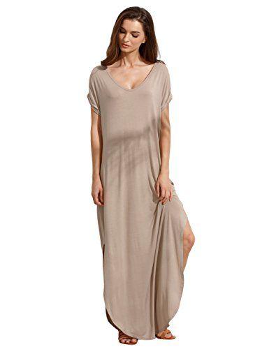 d98786a746 Verdusa Womens Casual Loose Pocket Shirt Dress Split Shift Long Maxi Dress  Light Brown S. Verdusa Women s Summer V Neck Split Loose Beach ...