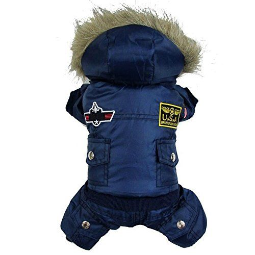 Very Warm Winter Coat Bomber Jacket for Small Dog With Hoodie Waterproof  Machine Washable