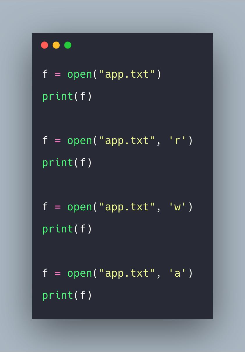 Python Open Example Open App Example Syntax