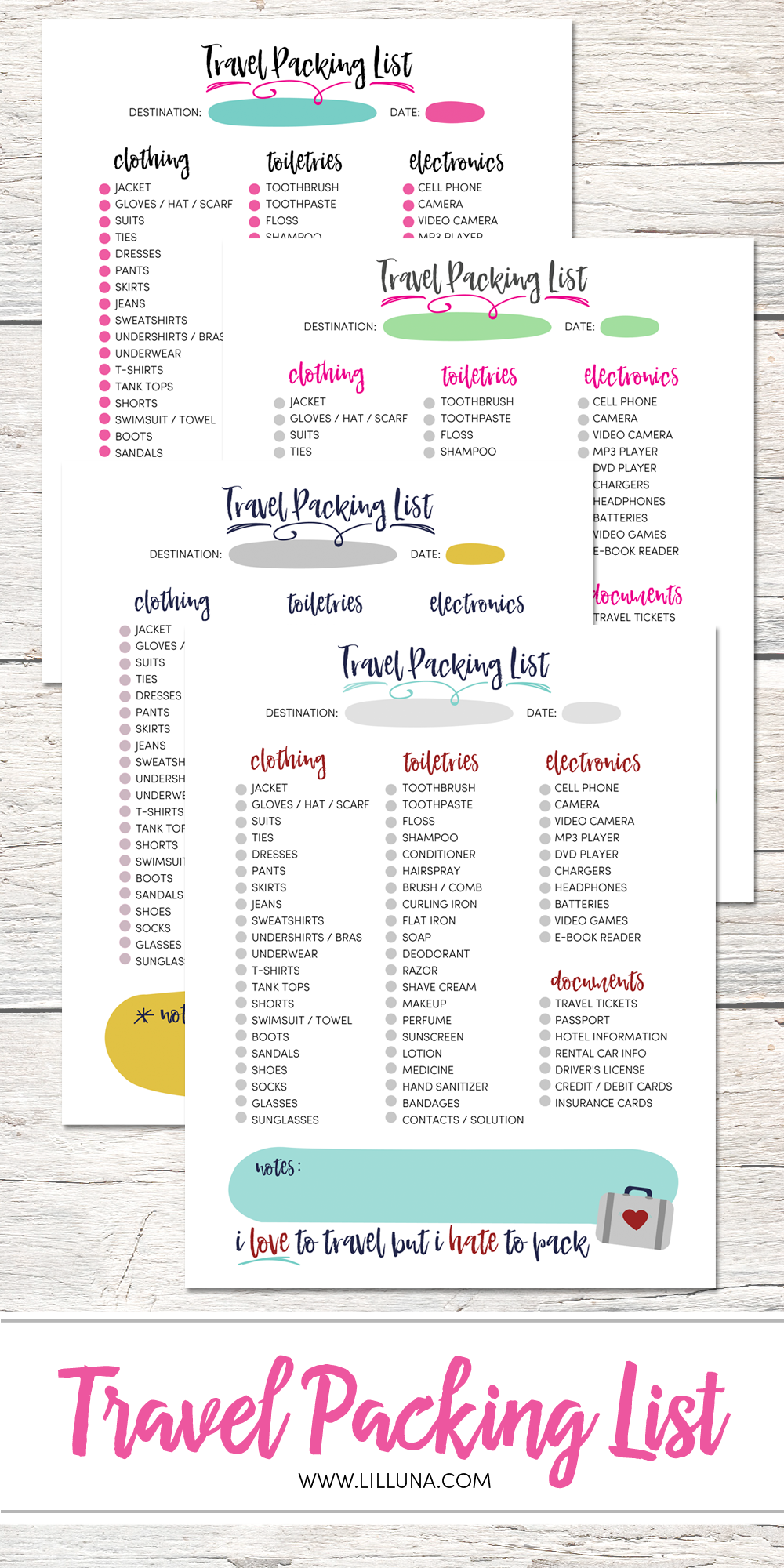 Free Printable Travel Packing List  Available To Download In
