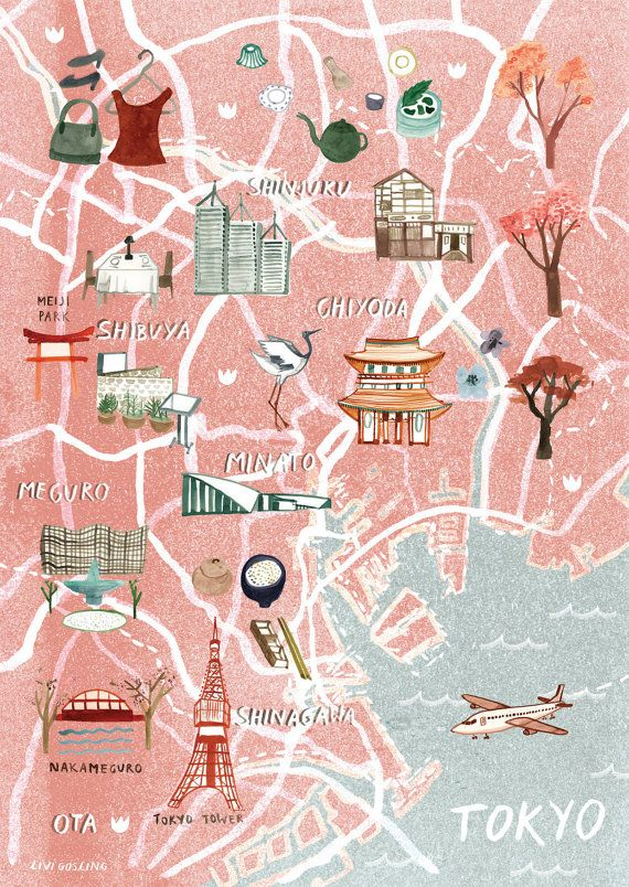 Illustrated map of Tokyo by Livi Gosling (via Etsy) map - new world map showing tokyo japan