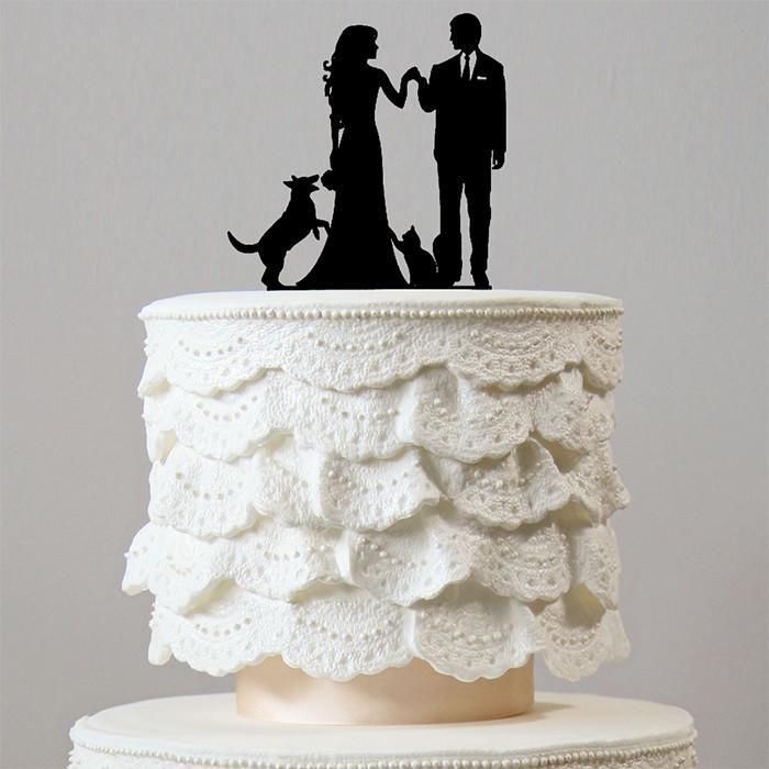 Vintage lesbian wedding cake topper