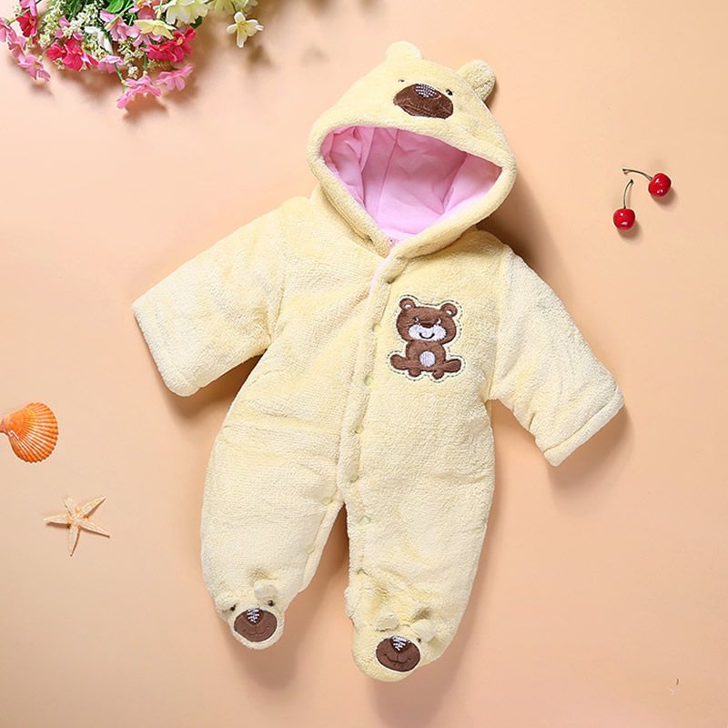 b45825b548ce Newborn Winter baby rompers Cotton Cute Animal Dog Bear Rabbit baby ...