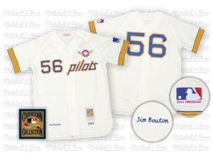 c2538c177ca MLB Seattle Pilots  56 Jim Bouton Cream Mitchell and Ness Jersey ...