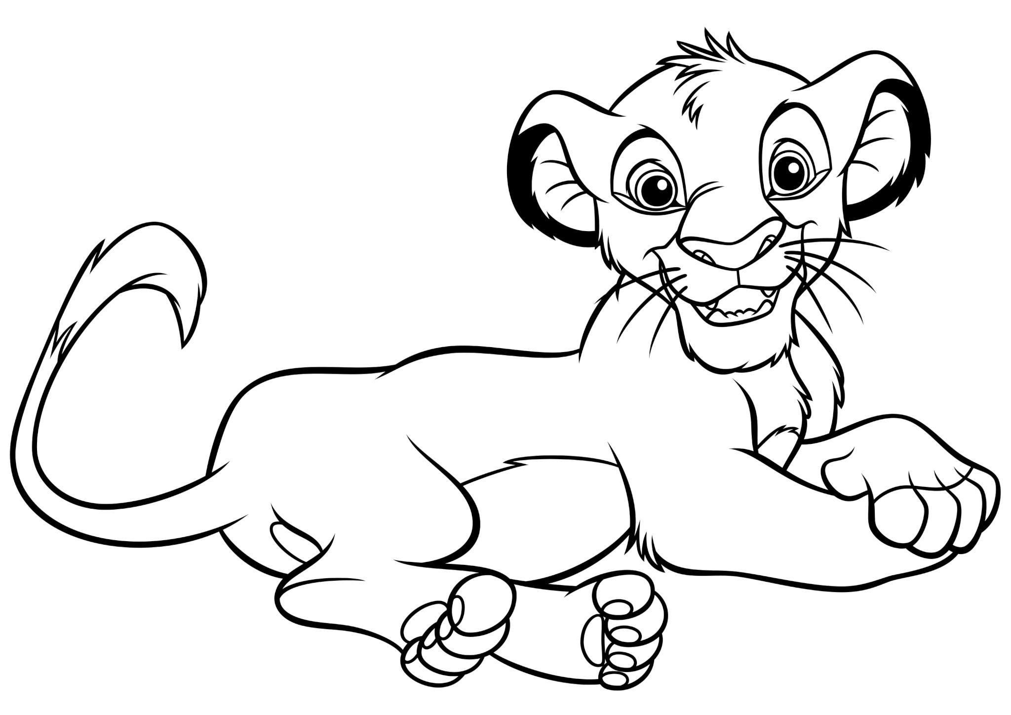 Раскраска «Львёнок Симба» в 2020 г | Раскраски, Король лев ...