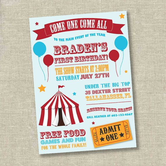 Circus Invitation Birthday Carnival First