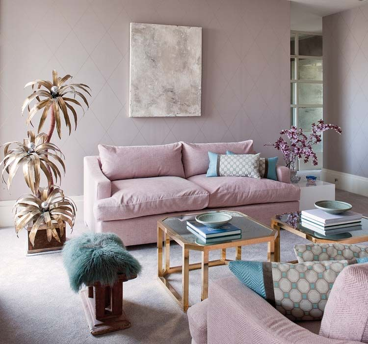 Ordinaire Gold Palm Tree Decor Faux Plant Teal Lamb Fur Carpet Stool Pink Blush Nude  Pastel Couch Sofa Walls Family Room Moden Design Gold Square Coffee Table  ...