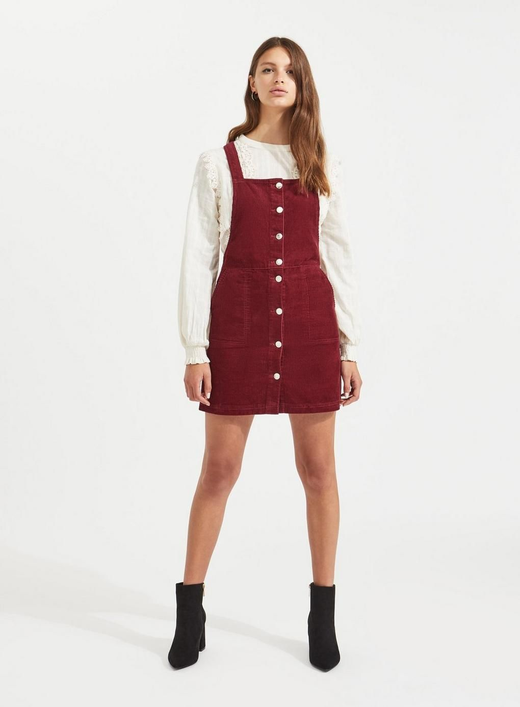 d08ae81251 Burgundy Button Cord Pinafore Dress in 2019
