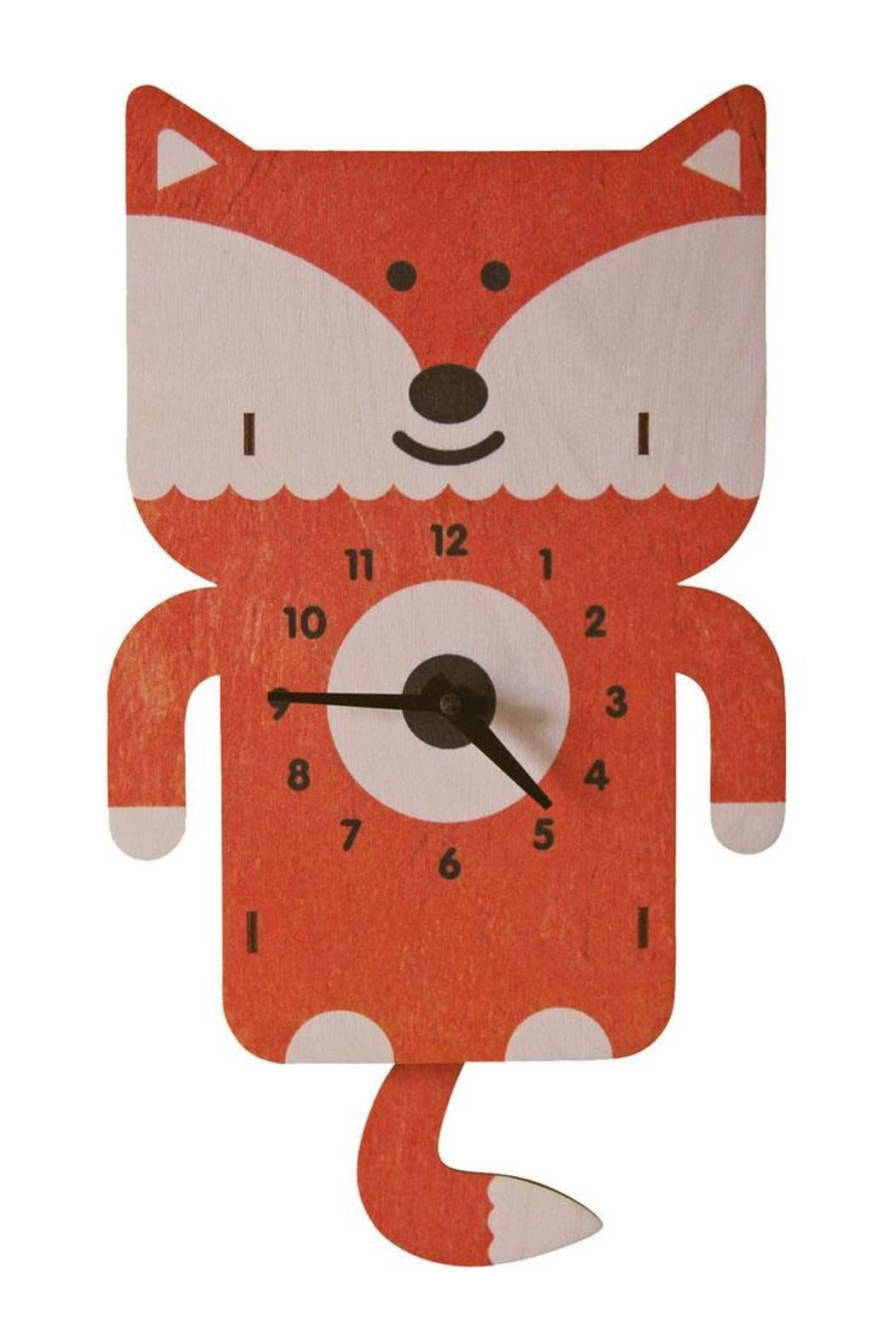 """Designed by Paul Ocepek, this whimsical clock has a 3D pop-out effect when hanging on the wall and each piece is unique, Made in MA from 1/8"""" thick laser cut birch plywood and printed with non-toxic water based inks. A pre-drilled hole in the back makes for easy hanging. USA quartz pendulum movement requires one AA Battery (not included).    Measures approximately 11 1/2"""" H x 8""""W x 1""""D   Fox Pendulum Clock by Modern Moose. Home & Gifts - Home Decor - Decorative Objects Massachusetts"""