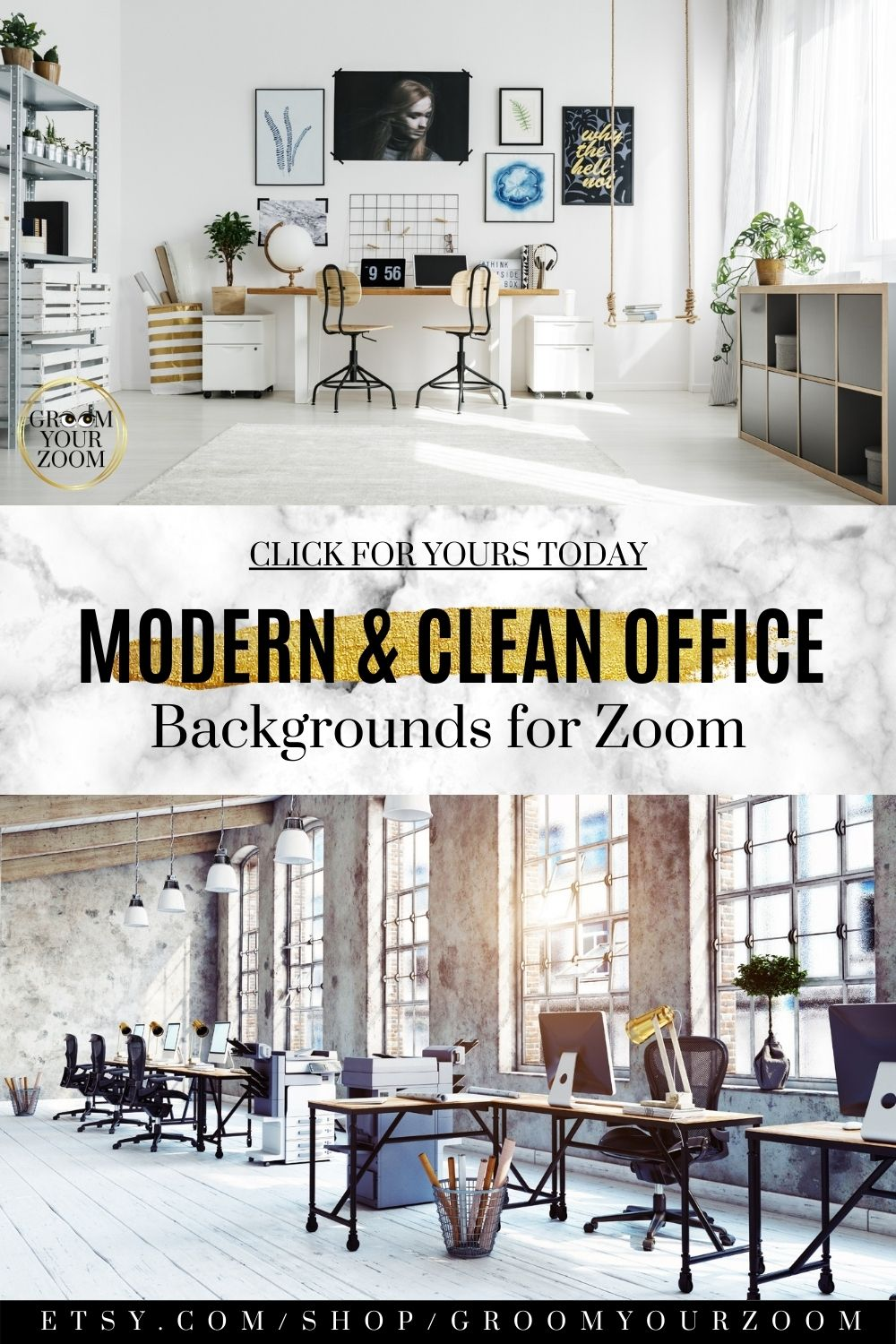 Open Office Zoom Background 4 Virtual Photos For Video Call Professional Background Online School Stock Photo Digital Download Open Office Clean Office Modern