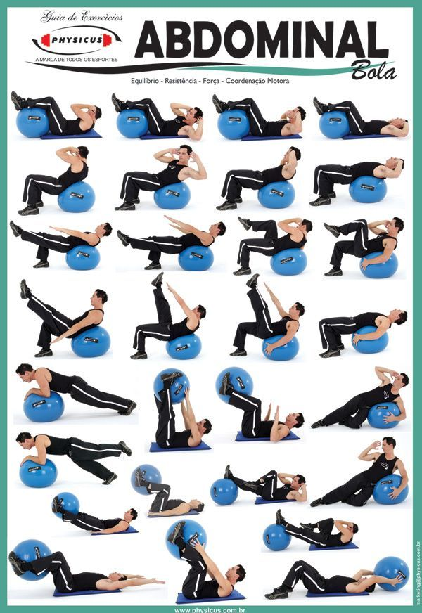 Exercise Charts for Stability Ball (Balance Ball, Swiss Ball) and BOSU #decorationequipment