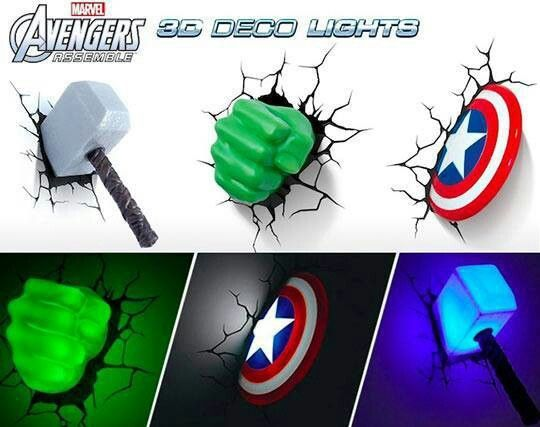 marvel avengers wall lights iron man thor captain america and hulk