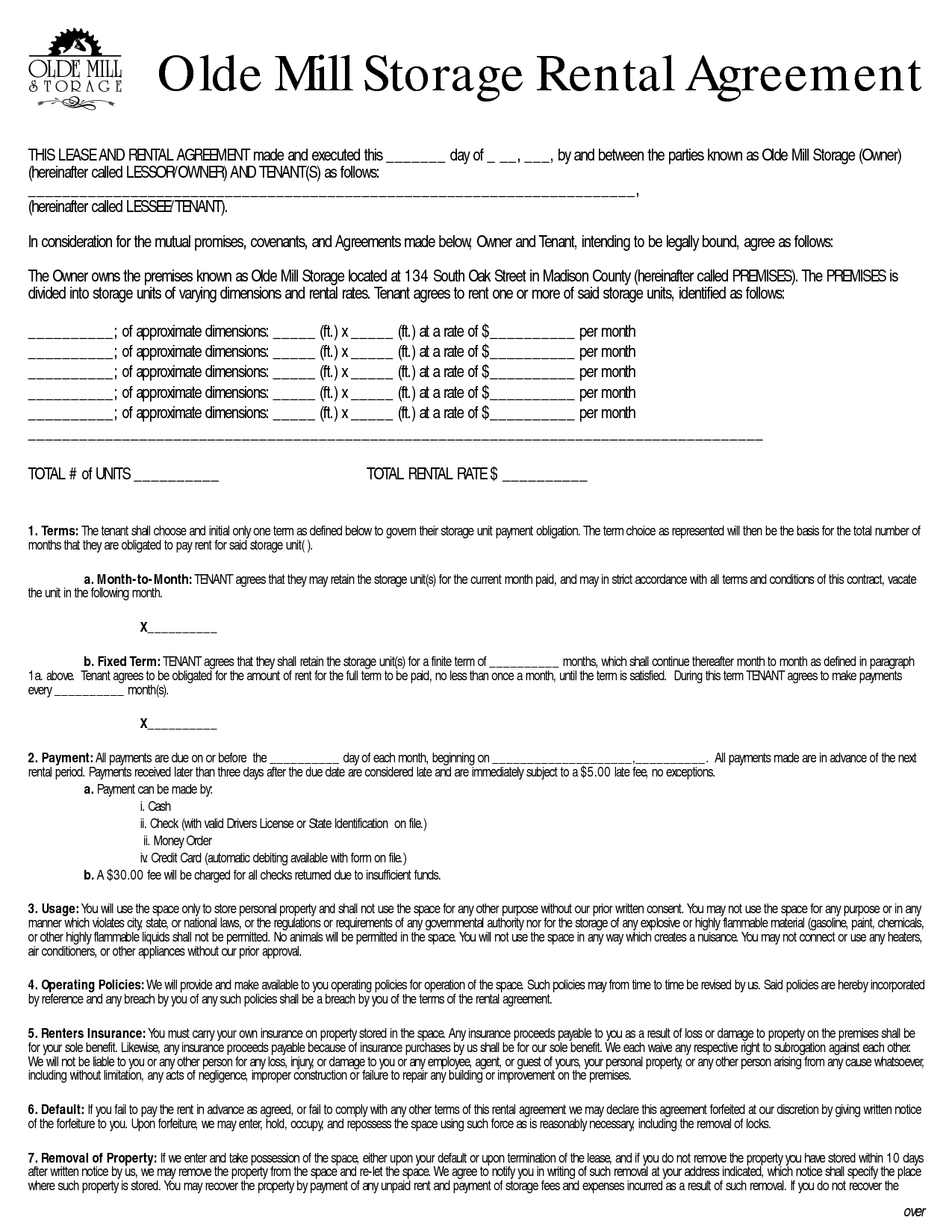 Storage Lease Agreement (With images) Storage rental