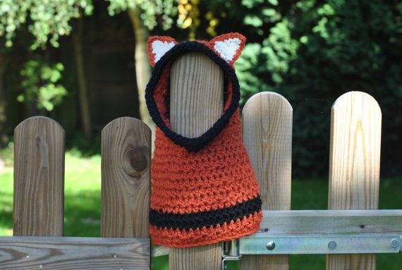 Hooded Fox Cowl Chunky Fox Hat toddler by Cassiopeia Knit Designs, UK