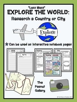 FREE- These pages can be used as interactive notebook pages or simply as stand-alone, ready to use student activity pages to make research of a country or city a bit more fun!