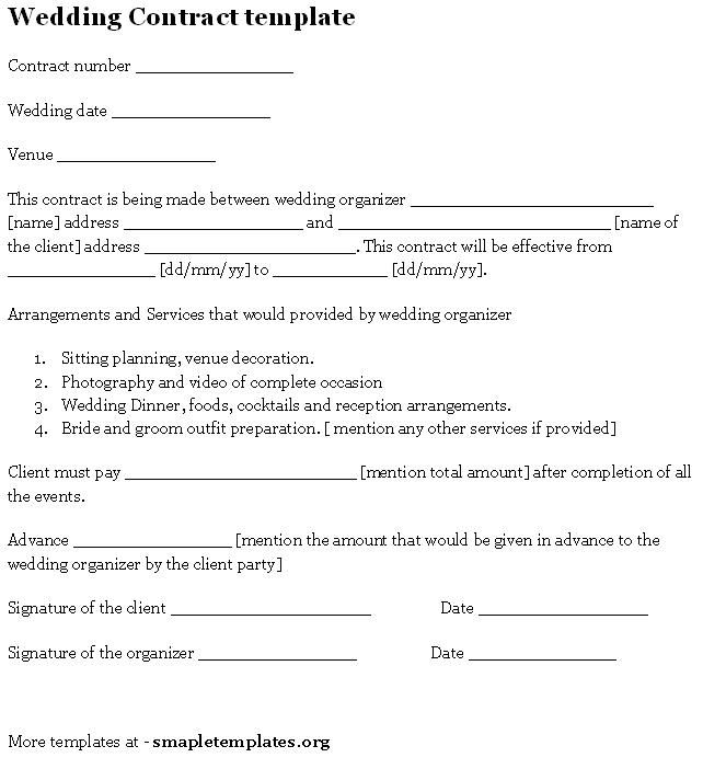 Wedding Contract Template Sample Templates – Vendors Contract Agreements