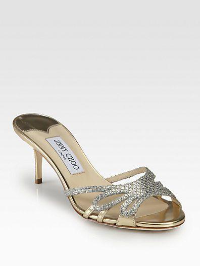 Jimmy Choo New Mimi Glitter & Metallic Leather Slides IT Size 39.5 NIB #JimmyChoo #OpenToe Start bid for $199