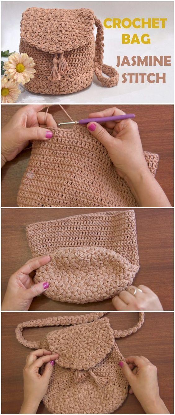 Crochet Bag Jasmine Stitch Free Pattern [Video] | Pinterest | Bolsos ...