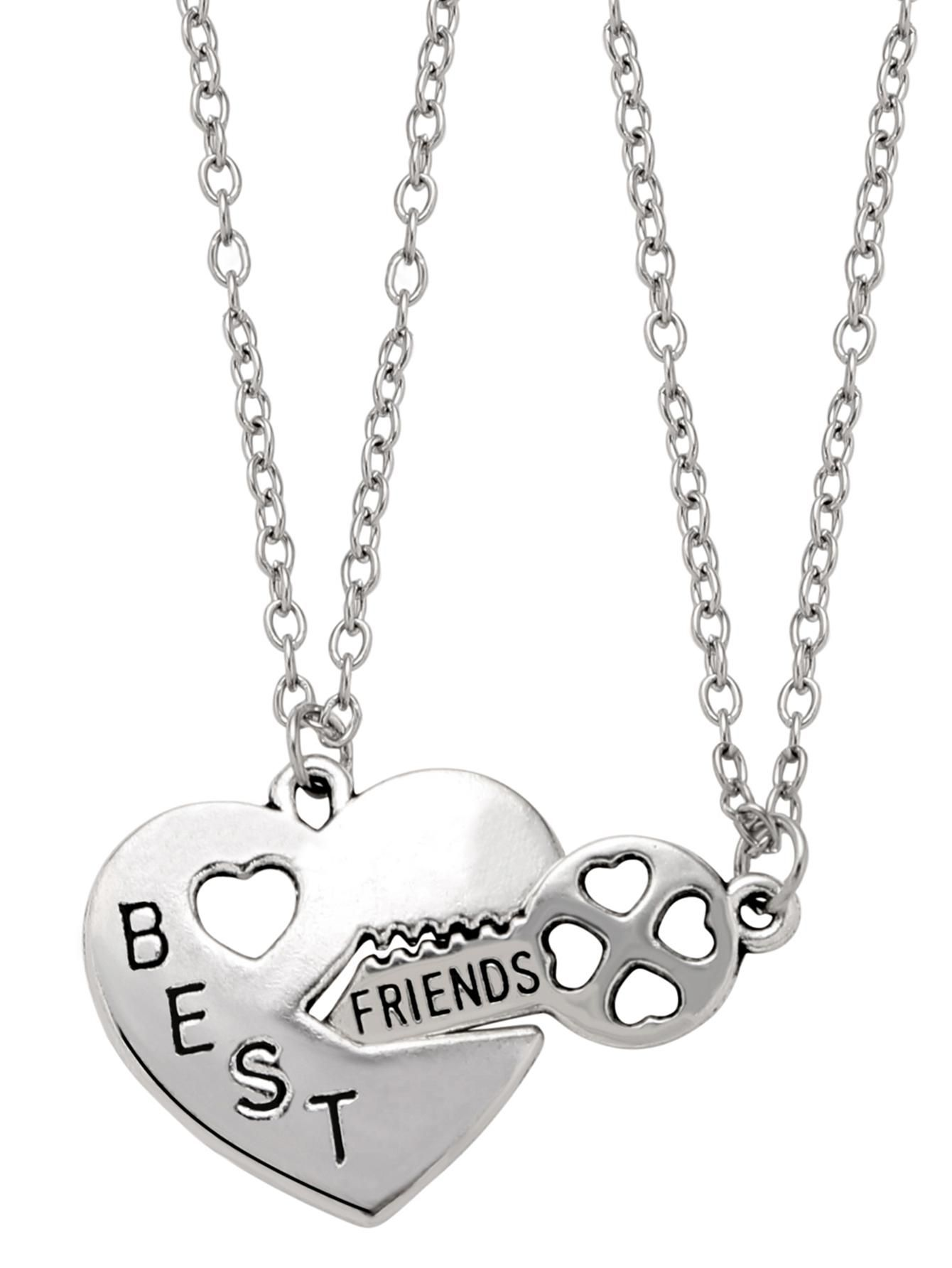 Silver letter etched heart lock and key pendant necklace set key