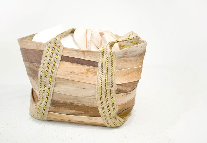 Dutch designer Tjeerd Veenhoven makes these beautiful bags from palm leather. An organic and vegan leather-like material made from palm leaves.  Love it!