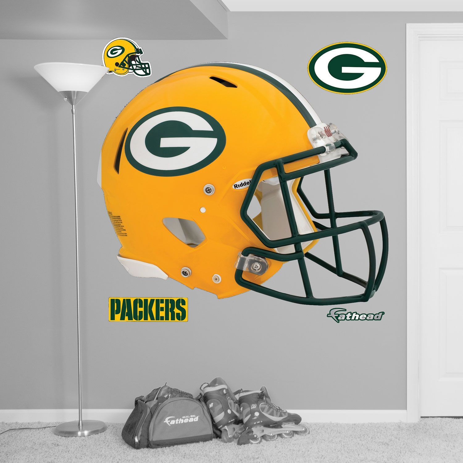 Fathead Green Bay Helmet Logo Wall Graphic, Team Green