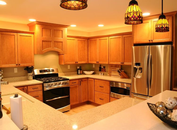 Craftsman Kitchen with Simple Granite, Liberty 4 in. Wire Cabinet Hardware Pull, Custom hood, U-shaped, Flush, Pendant Light