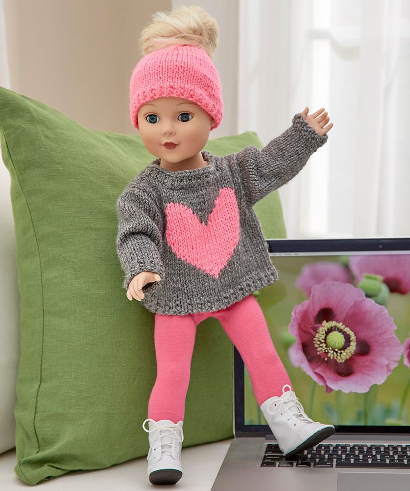 Love my doll sweater messy bun hat red heart 18 knitted love my doll sweater messy bun hat free knitting pattern in red heart super saver yarn bankloansurffo Image collections