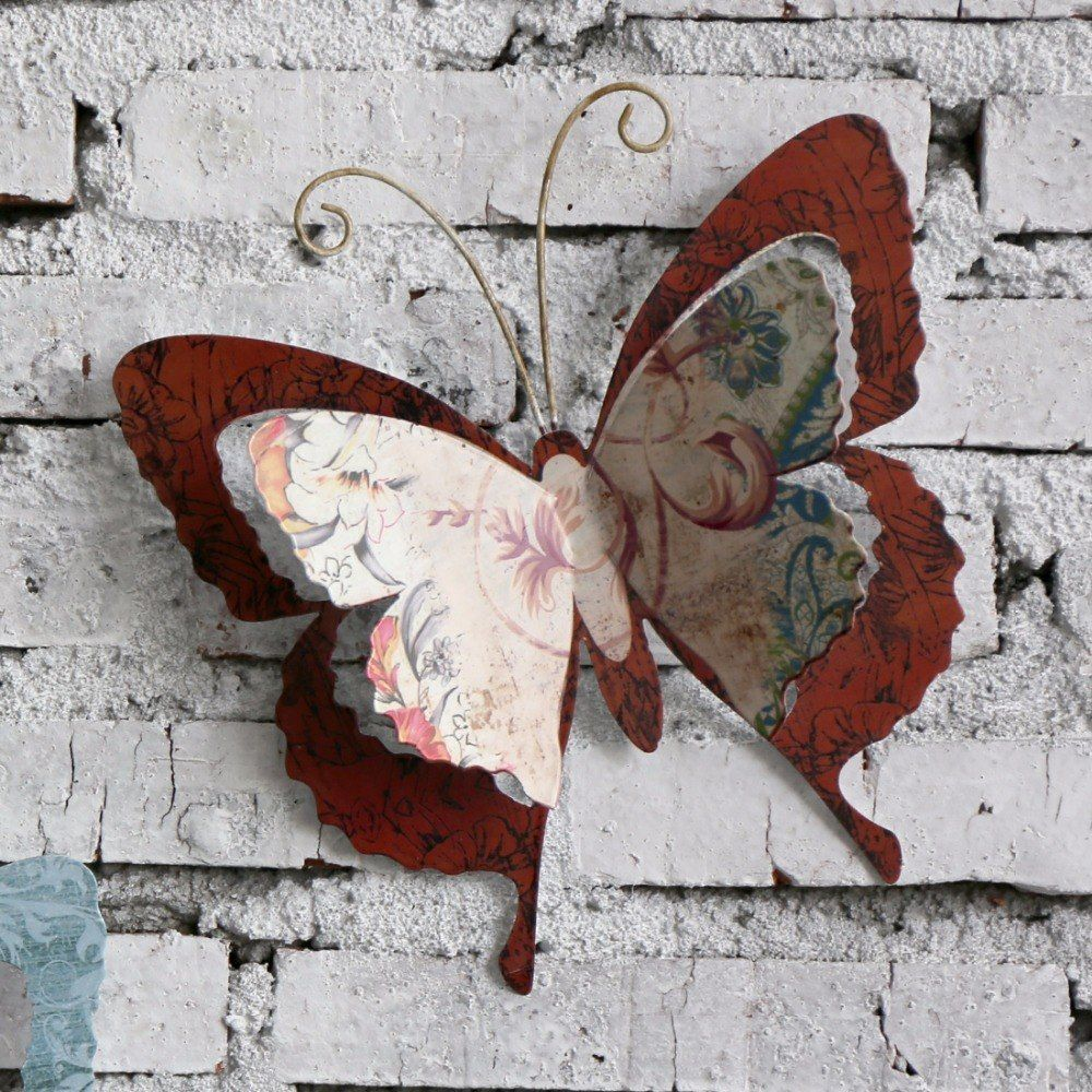 Multicolored metal butterfly garden wall art with swing u hanging