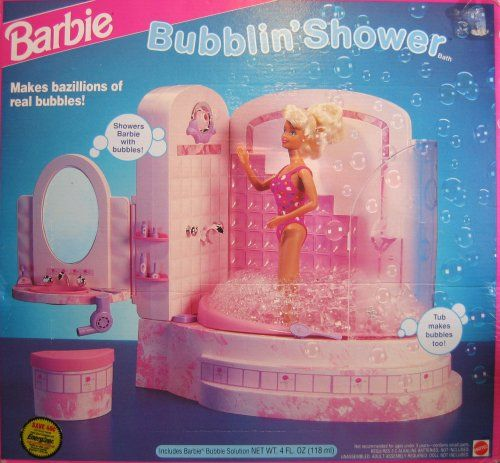 obviously my barbies had to take showers