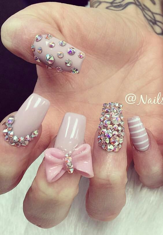 Acrylic Nail Designs With Rhinestones And Bows 73259 Loadtve
