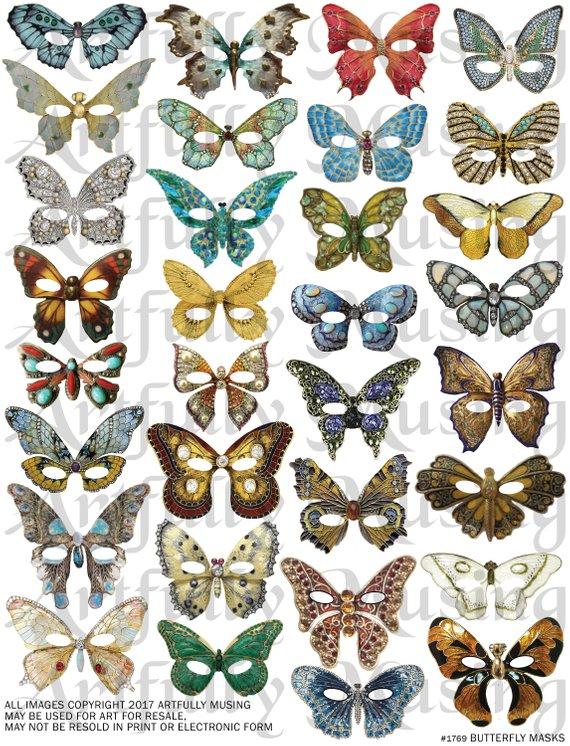 Bejeweled Butterfly Masks Jewelry Ephemera Collage Sheet