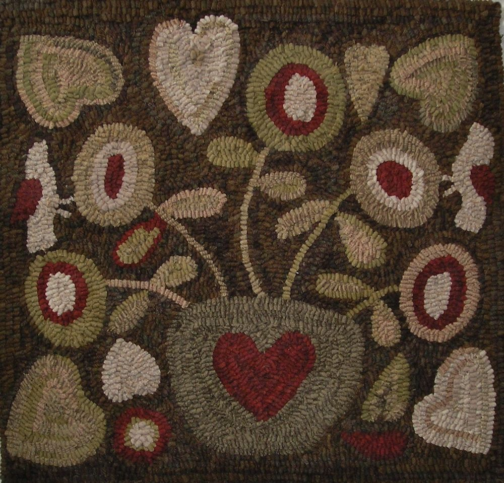 Washable Primitive Rugs: Details About Hand Made Primitive Style Hooked Rug Flowers