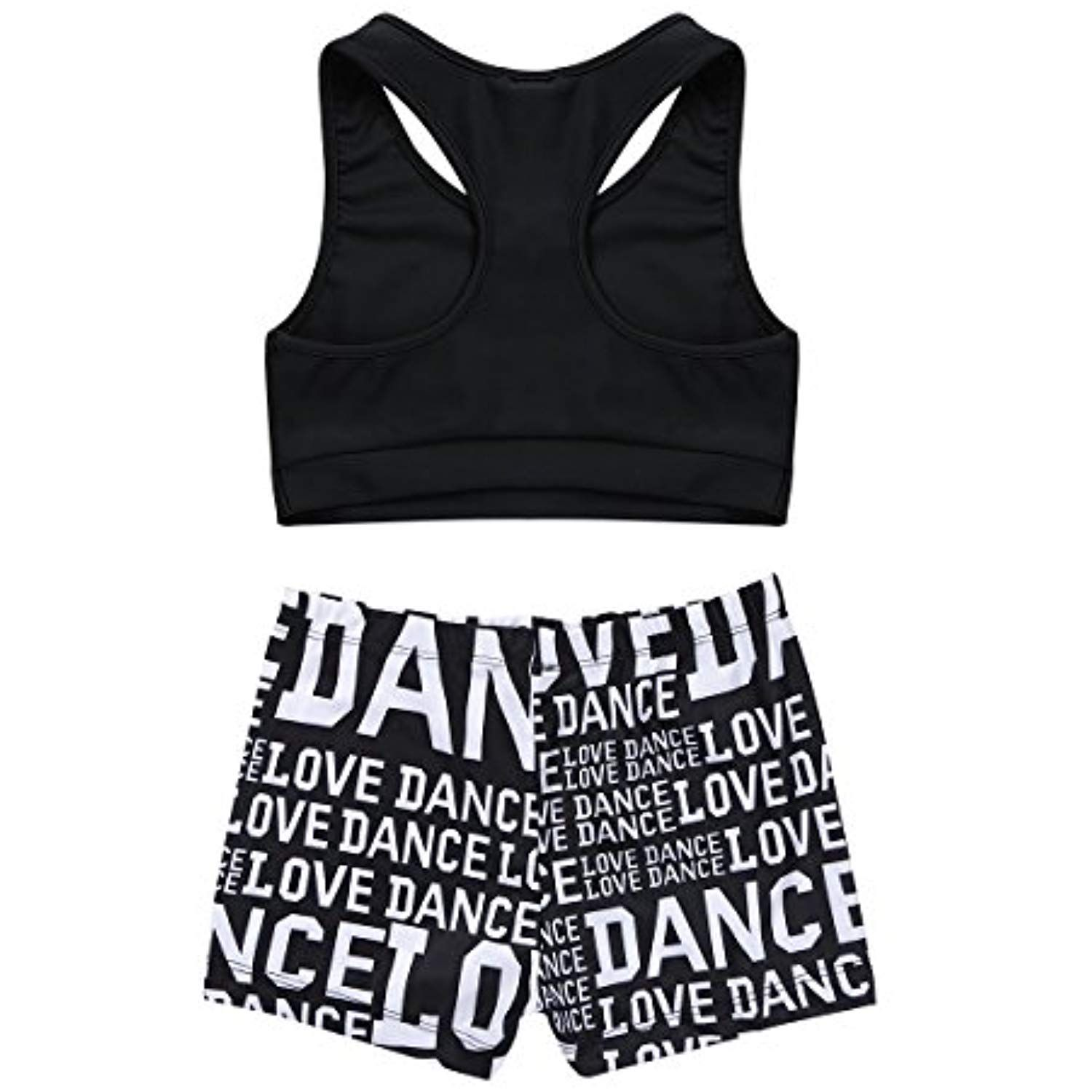 FEESHOW Kids Girls Active wear Sports Bra Crop Top with Leggings Gymnastics  Dance Outfit 2 Piece Set Active Top & Bottom Sets