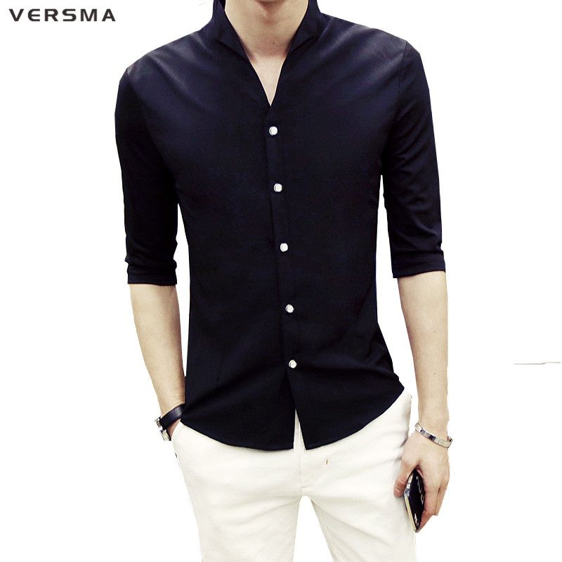 Click to Buy << VERSMA 2017 Half Sleeve Men Solid Color Stand Collar. >>