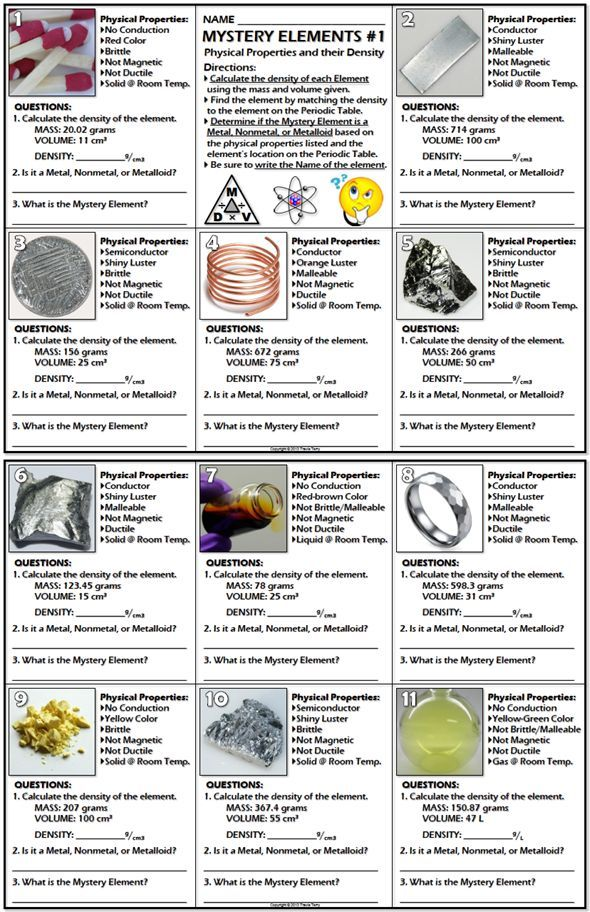 Worksheet mystery elements and their density version 1 periodic school urtaz Image collections