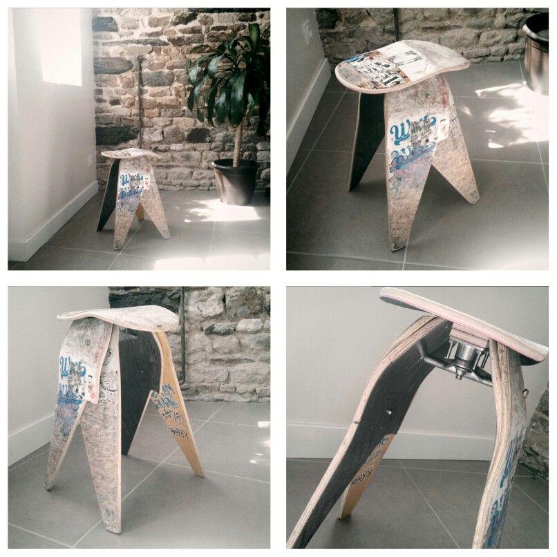 A stool from salvaged skate decks. From a deckstool idea.