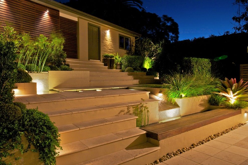 Breathtaking landscape lighting landscape contemporary design ideas with garden paving steps travertine