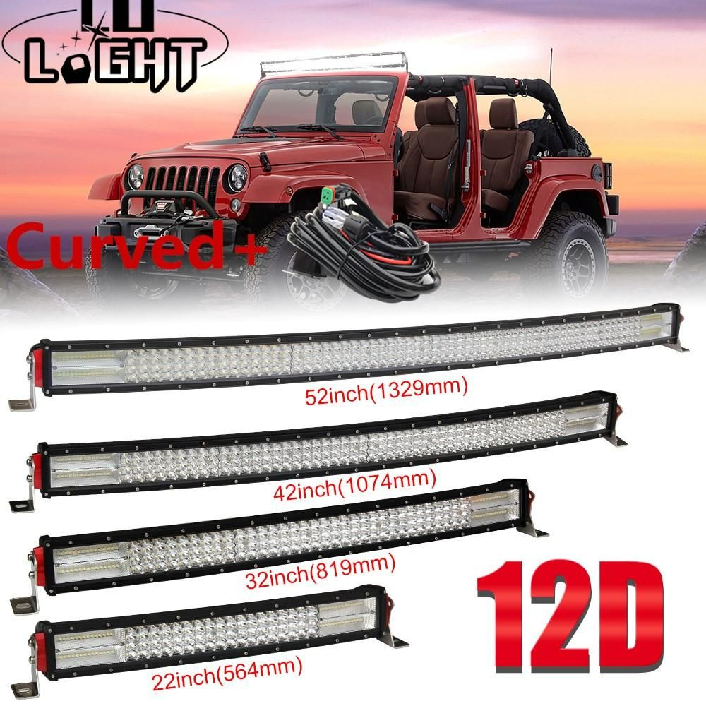 22 32 42 52 Inch 12d Curved Led Light Bar Combo 12v 24v Off Road Led Bar For Suv 4x4 Lada Uaz Jeep Auto Drivin Bar Lighting Curved Led Light Bar Led Work Light