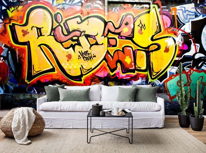 3d Vibrant Graffiti Wallpaper Removable Self Adhesive Etsy Graffiti Wallpaper Graffiti Wall Mural Wallpaper