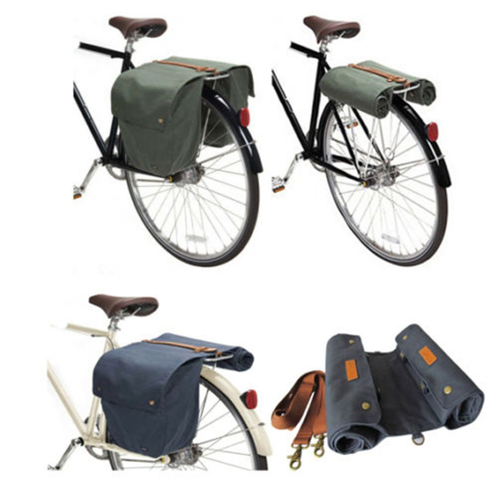 Tourbon Classic Style Bicycle Double Pannier Bag Waxed Canvas Color Optional Accesorios Para Bicicletas Alforjas Bicicletas