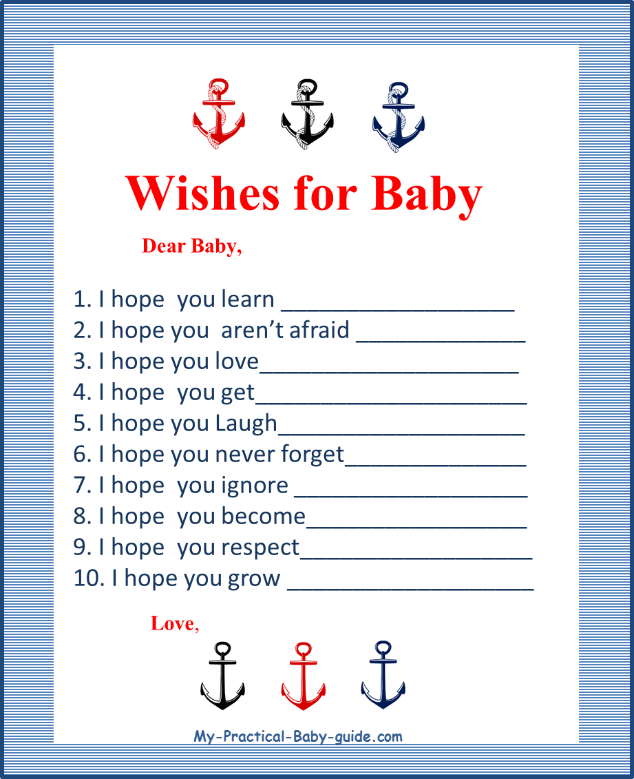 Free Printable Nautical Baby Shower Wishes For