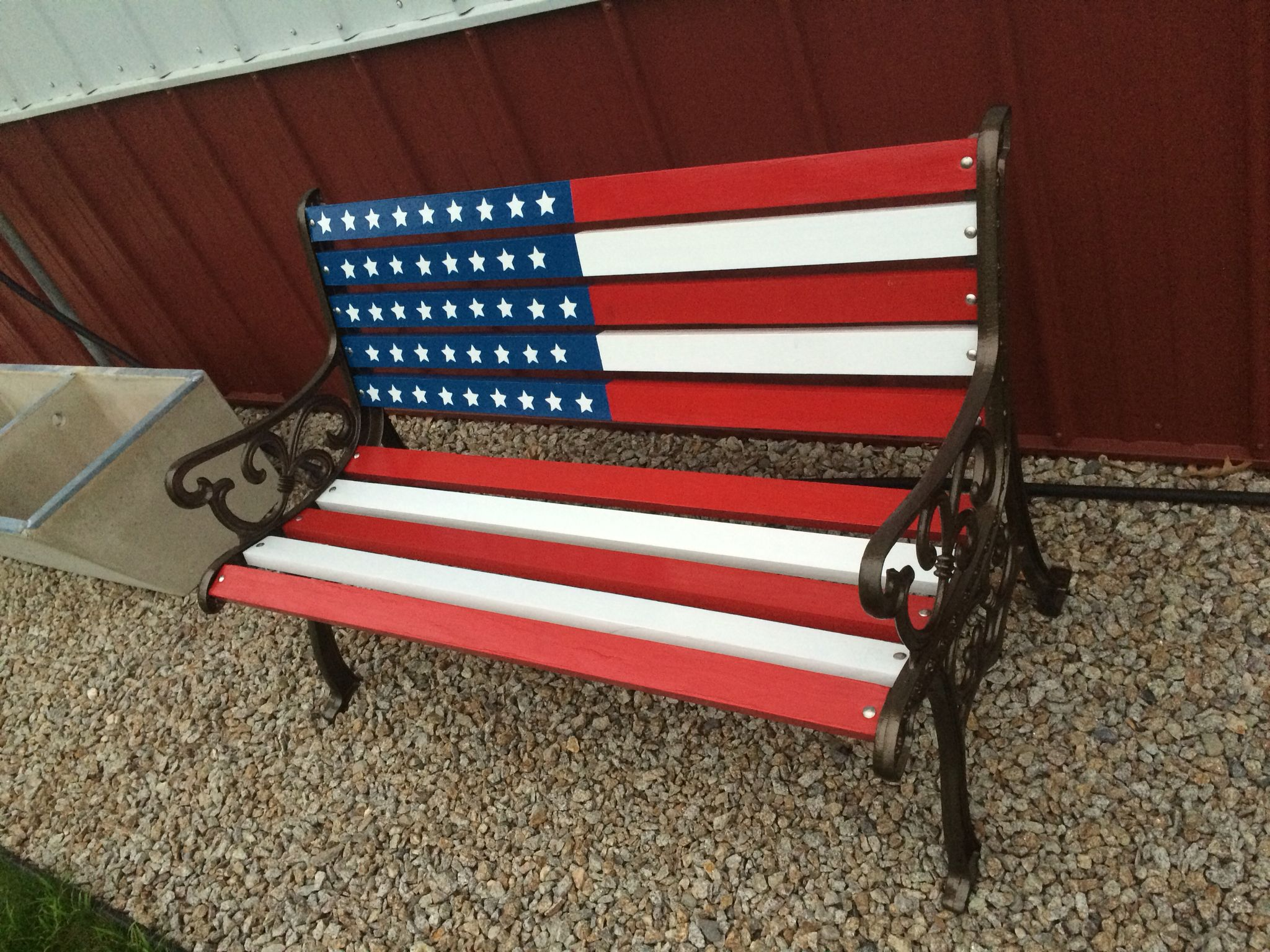 Finished Bench July Crafts 4th Of July Decorations Painted Benches