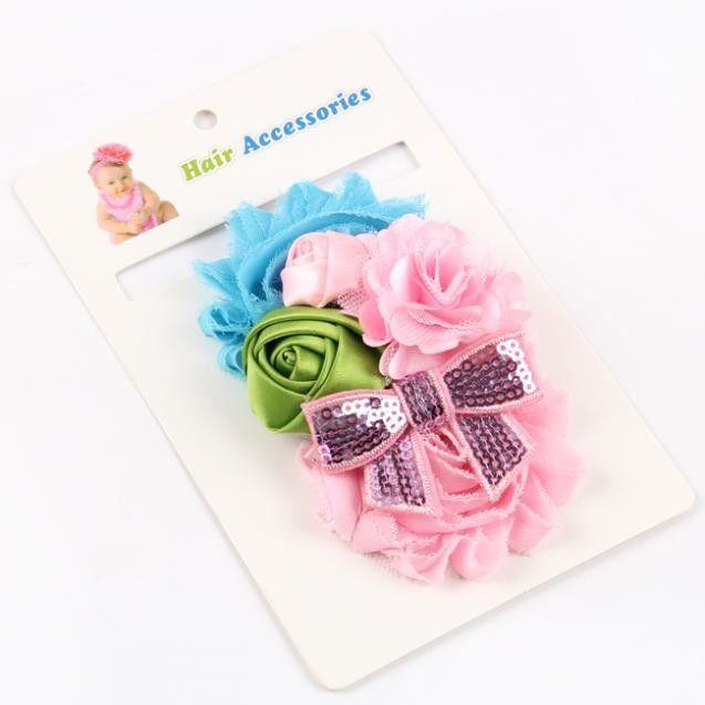 retail new 2014 handwork pearl 7 styles mix 4 flower baby Headband Wide