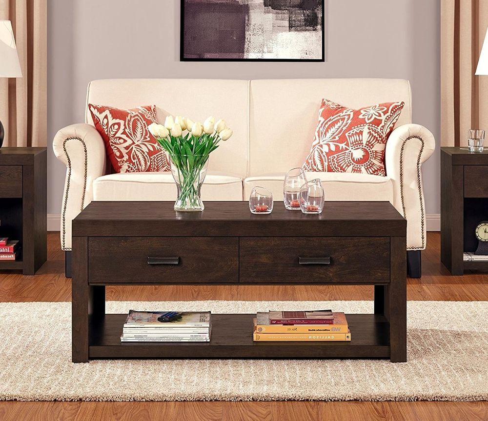 Rustic wood coffee table two drawer shelf storage espresso living room furniture rectangularwoodcoffeetablealtra contemporary