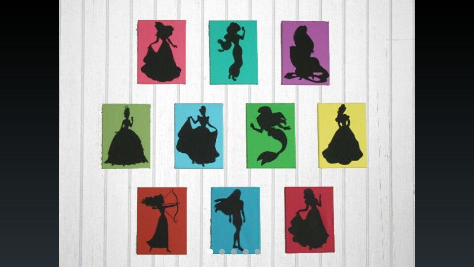 Disney princess silhouettes so easy to make and frame for - Peinture princesse disney ...
