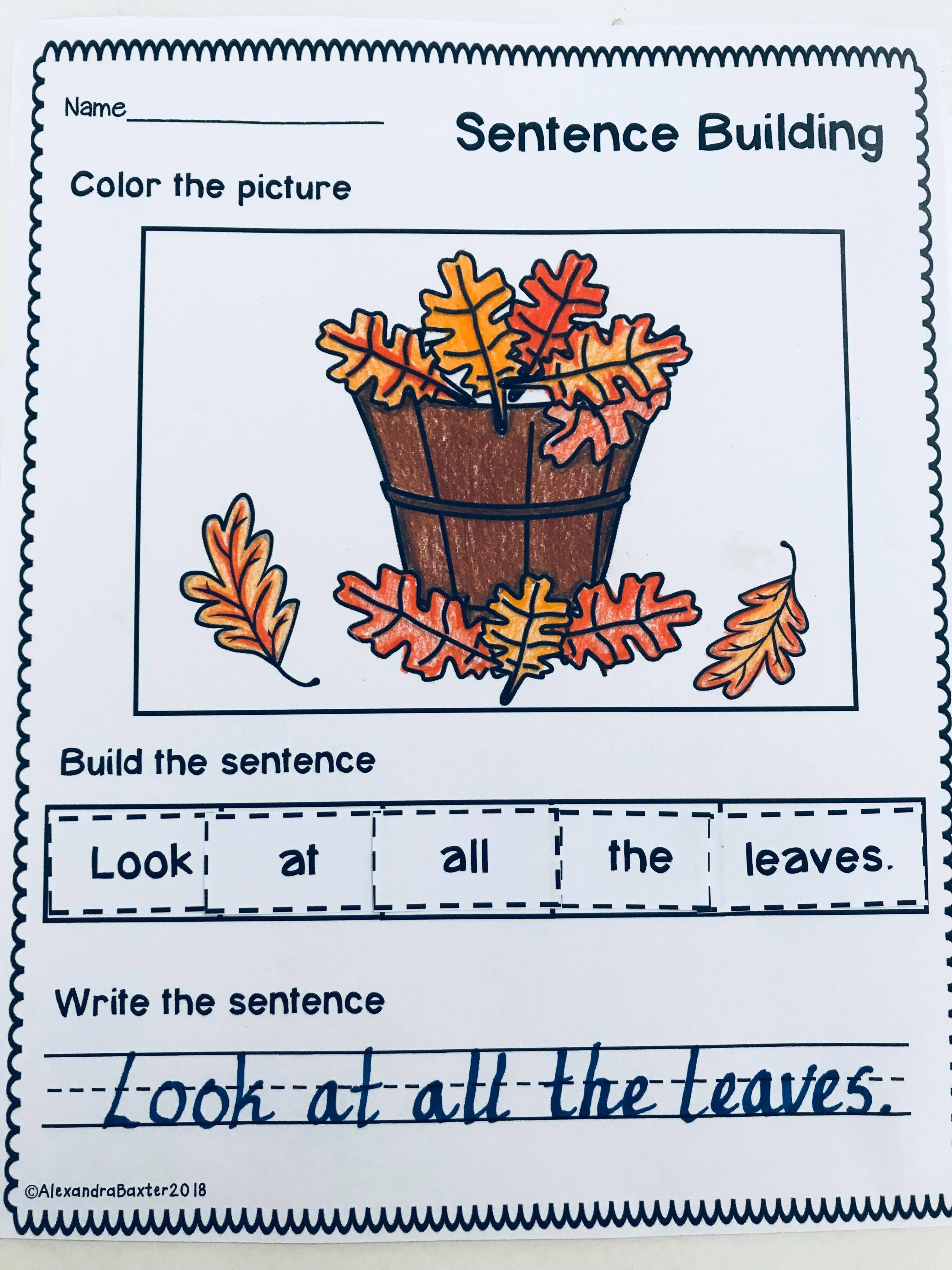 medium resolution of Autumn Fall Sentence Building   Sentence building