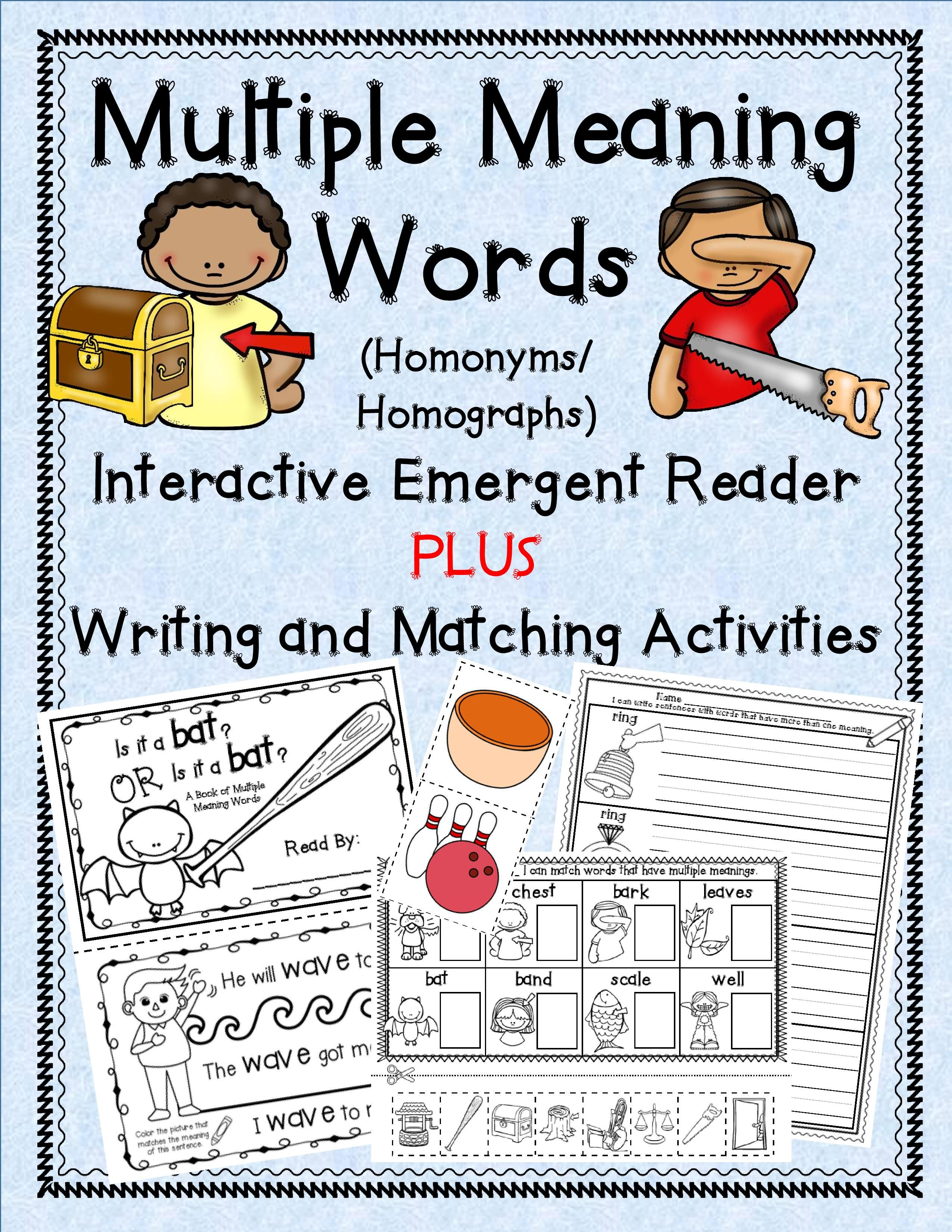 Interactive emergent reader presents multiple meaning words with