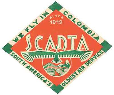 SCADTA Airlines Colombia Vintage-Style 1950's Travel Decal-Sticker-Luggage Label